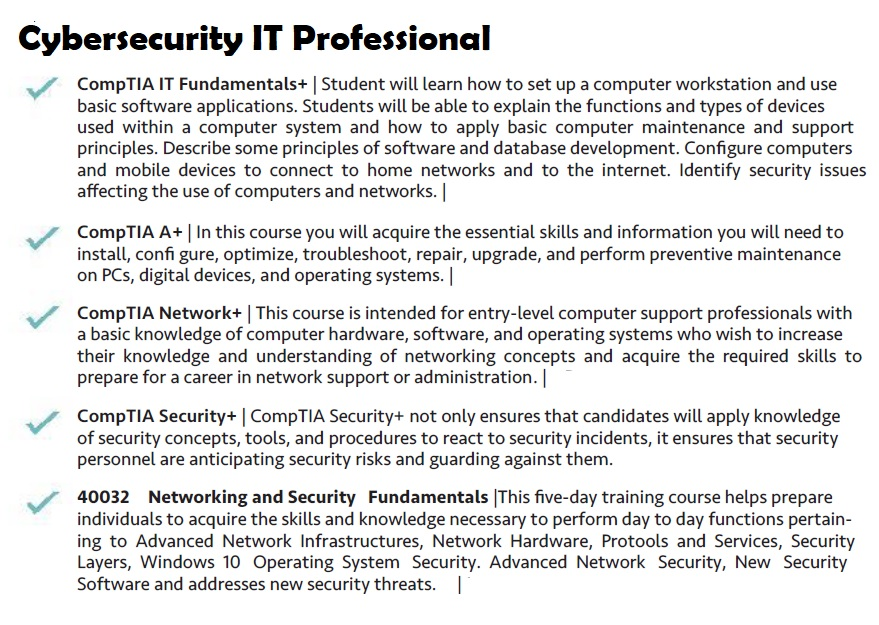 CompTIA A+, Microsoft Network and Security Fundamentals, CompTIA A+, CompTIA Secureity+, Comptia Network+, CompTIA Security+